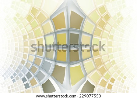 Bright yellow, orange and grey curved mosaic design on white background  - stock photo