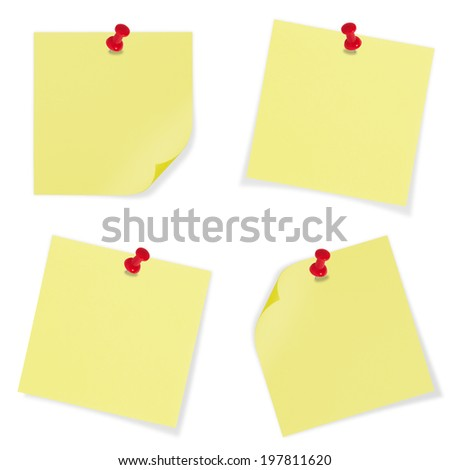 Bright Yellow paper blank with red pin on white background.