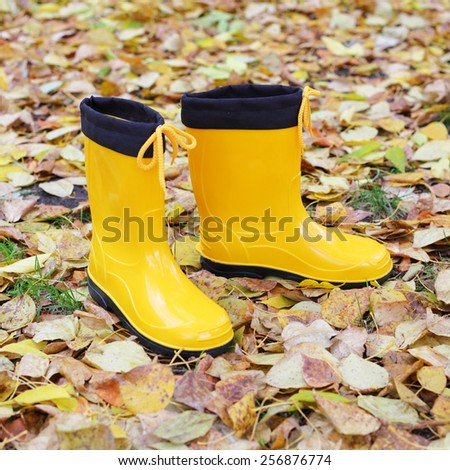 bright yellow rubber boots on the autumn leaves background - stock photo