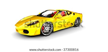 Bright Yellow Sports Car isolated on white