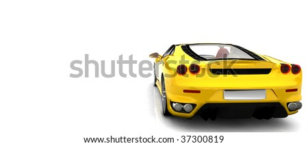 Bright Yellow Sports Car - rear view isolated - stock photo