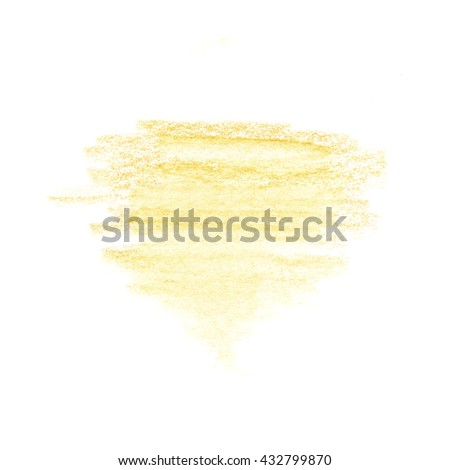 Bright  yellow watercolor crayon hand drawn strokes spot background.  Hatching colored pencil   - stock photo