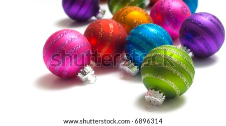 Brightly colored Assorted color Christmas balls or decorations great for background