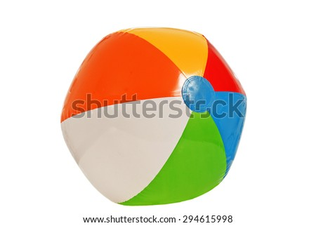 Brightly Colored Beach Ball Isolated on White/ Summer Beach Fun With Beach Ball