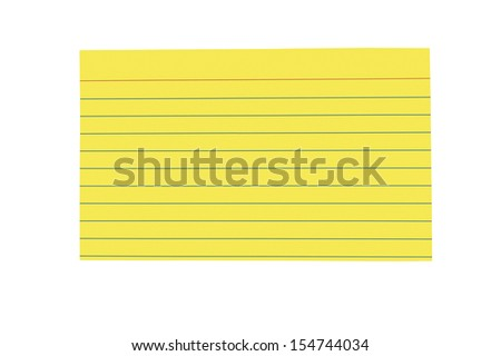 Brightly Colored Blank Index Card/ Horizontal Shot/ Isolated On White Background - stock photo