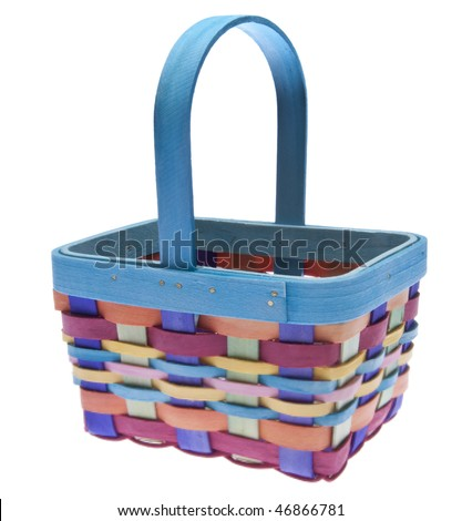 Brightly colored Easter basket ready to be filled with treats isolated on white with a clipping path. - stock photo