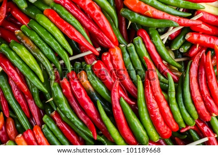 Brightly colored peppers - stock photo
