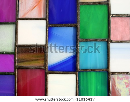 Brightly colored stained glass panel