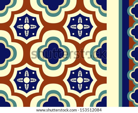 Brightly colored talavera inspired seamless vector tile with seamless tiling border in red, navy, green and yellows.  - stock photo