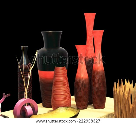 Brightly colored wooden vase