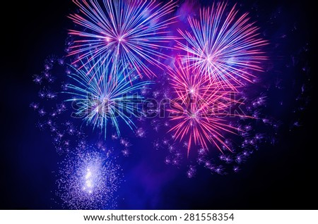 Brightly colorful fireworks  - stock photo