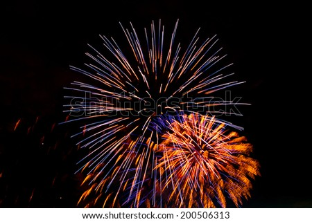 Brightly colorful fireworks and salute of various colors