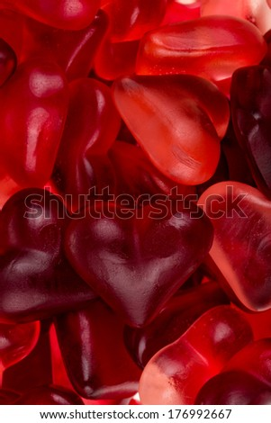 Brightly coloured red gums hearts as valentine present