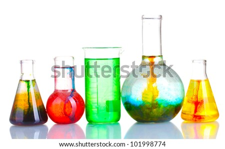 brightly ink in a flask with water isolated on white - stock photo