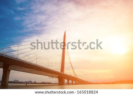 Brightly-lit night, the bridge Jiangxi, China - stock photo