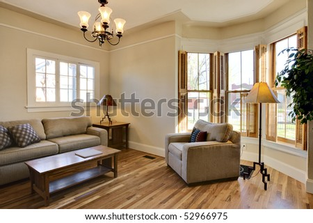 Brightly Lit Room Remodel Living Area Interior. - stock photo