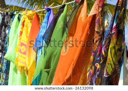 brightly patterned clothing for sale 4 - stock photo