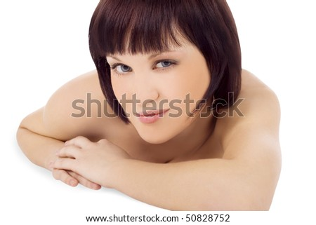 Brightly picture of lovely young woman - stock photo