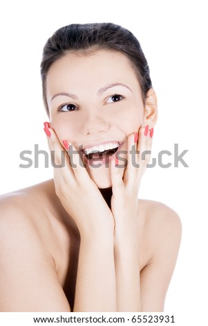 Brightly picture of smiling brunette over white - stock photo