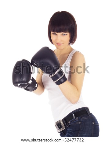 brightly picture of woman in boxing gloves - stock photo