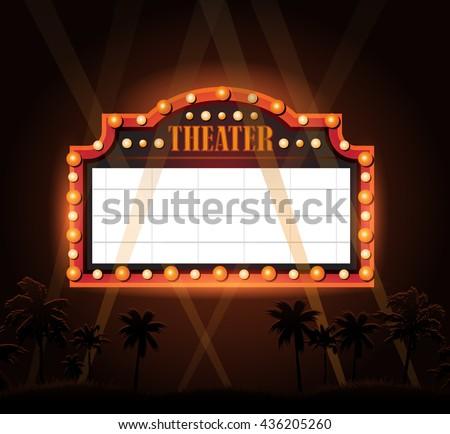 Brightly vintage glowing retro cinema neon sign - stock photo