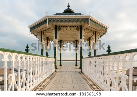 Brighton and Hove, bandstand on the seafront - stock photo