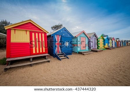 Brighton beach bathing boxes in Melbourne. Bathing boxes are the well-known place of Brighton beach in Melbourne, Australia. Melbourne located in Victoria. Melbourne is capital of Victoria. Melbourne.