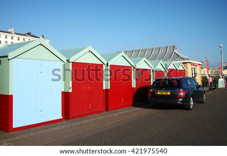 BRIGHTON ENGLAND -NOV 1 :  The modern beach hut among coast background of Brighton beach on November 1, 2015 in Brighton East Sussex England.