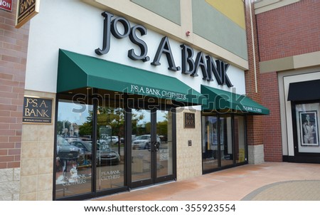BRIGHTON, MI - AUGUST 22: Jos. A. Bank, whose Brighton, MI store is shown August 22, 2015, has over 600 stores.  - stock photo