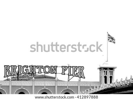 Brighton Pier Sign in Black and White - stock photo