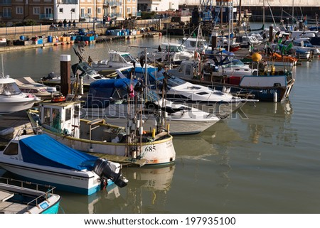BRIGHTON, SUSSEX/UK - JANUARY 27 : View of Brighton Marina in Brighton Sussex on January 27, 2012. Unidentified people.