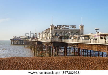 BRIGHTON, SUSSEX/UK - MARCH 6 :Brighton's location has made it a popular destination for tourists. Brighton Pier in Brighton on march 6, 2014.