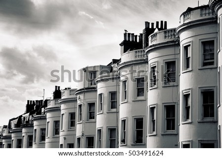 BRIGHTON, SUSSEX UK 13 October 2016: Bow fronted Regency (georgian) houses in Brighton, UK