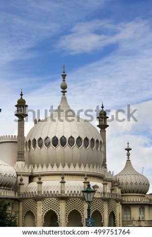 BRIGHTON SUSSEX UK 13 October 2016: Brighton Pavilion also known as the Brighton Pavilion, completed 1823
