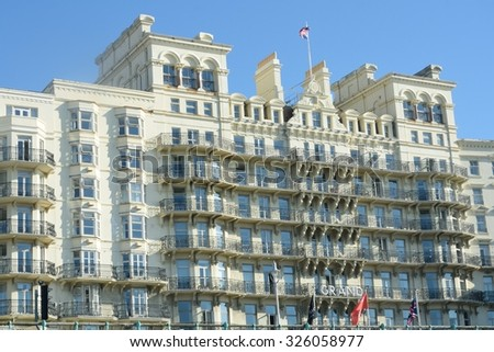 BRIGHTON SUSSEX  UK 29 September  2015: Grand Hotel on seafront