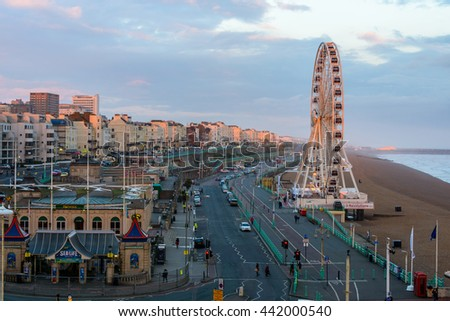 BRIGHTON, UK - CIRCA APRIL 2013: The Brighton Wheel on the seafront. The Brighton Wheel definitely closed Sunday 8 May 2016. - stock photo