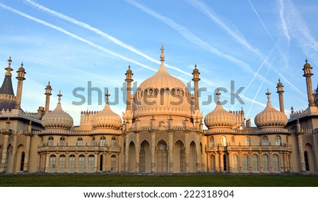Brighton, United Kingdom - September 28, 2014: Early morning sun on the historic Royal Brighton Pavilion. - stock photo