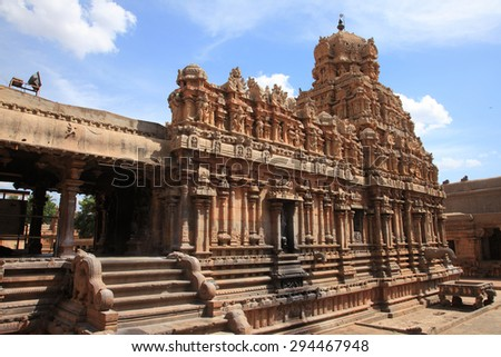 Brihadeeswarar Temple in Thanjavur, Tamil Nadu, India. One of the world heritage sites in India.  - stock photo
