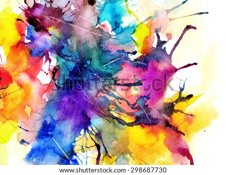 briight abstract watercolor painting - stock photo
