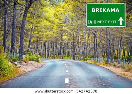 BRIKAMA road sign against clear blue sky - stock photo