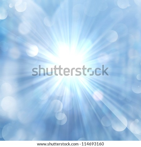 Brilliance of sun beams sparkle from center on twinkling blue luminous abstract background. - stock photo