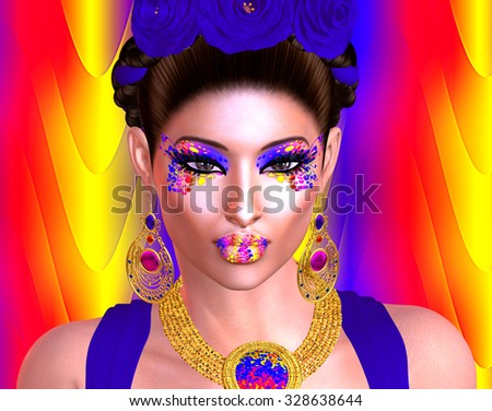 Brilliant colors adorn this image of a woman that was inspired by the great Mexican artist Frieda Kahlo . This is our very own unique digital art design, loaded with bold and vibrant colors. - stock photo
