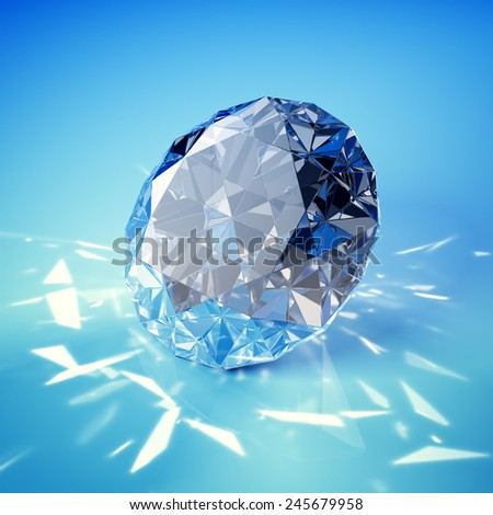 Brilliant diamond on blue background - stock photo
