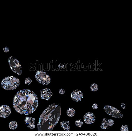 Brilliant diamond scattered on black background - stock photo