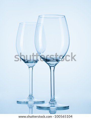 brilliant glass with a blue background - stock photo