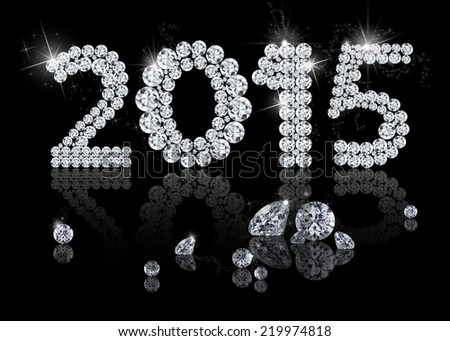 Brilliant New Year 2015 is a diamond jewelry illustration on a black background. - stock photo