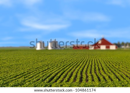 Brilliant orange sunrise over a Corn field in Iowa, with a bright yellow sun on a cool spring morning. - stock photo