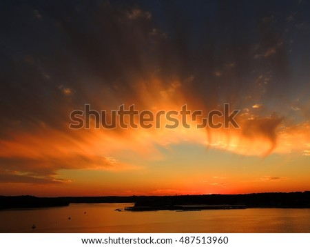 brilliant sunset in osage beach,  over the lake of the ozarks, missouri