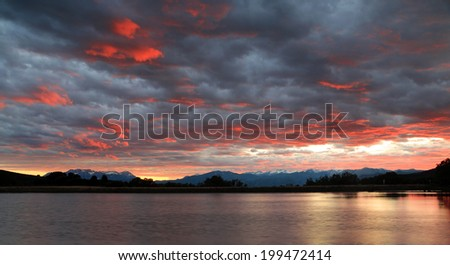 Brilliant sunset in the Wasatch Mountains, Utah, USA. - stock photo