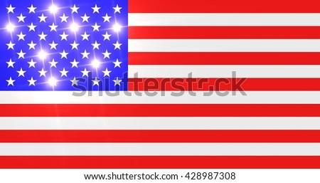 Brilliant US flag with shiny stars. - stock photo